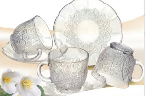 Set de 6 tazas c/plato de vidrio Turkia  Jazmine 230ml Soifer caja de regalo