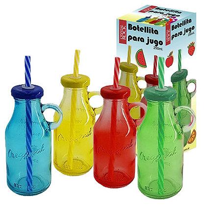 botella color con bombilla cristal rock