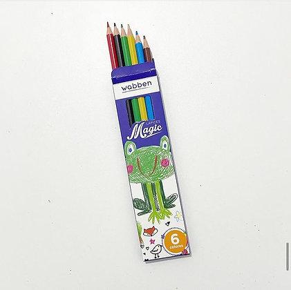 Lapices de colores largos x 6 Wabben art 9047