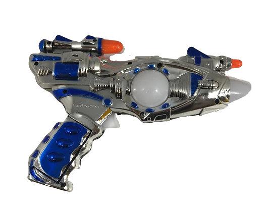 Pistola metalizada a pila con luz y sonido 23x16cm Athand art 696