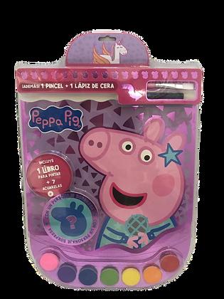 Libro p/pintar + pincel + acuarelas Peppa Pig vertice art 4232