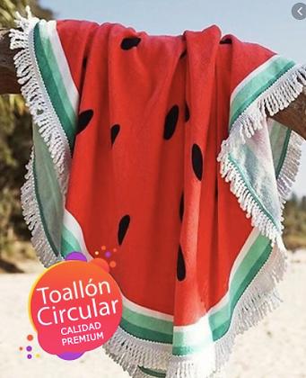 Toallon redondo secado rapido con flecos 160cm TR