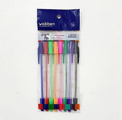 Pack x 8 lapiceras cristal pen  colores Wabben art 9263
