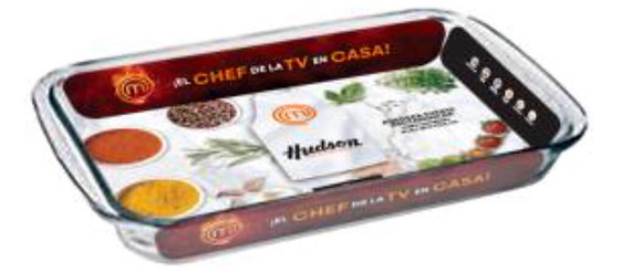 Fuente rectangular de vidrio 34,5x20,6x5 Master chef Hudson