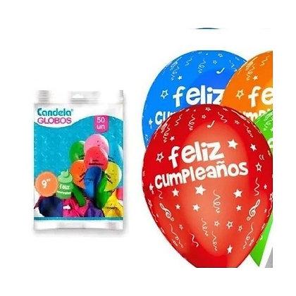 """Globos 9"""" perlados feliz cumpleaños Candela"""
