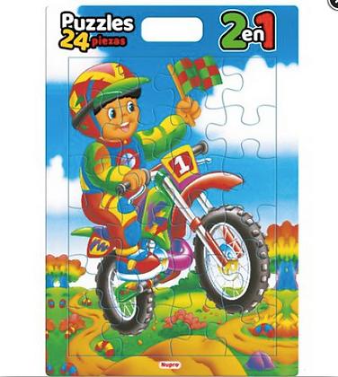 Cubi Puzzle x 24 piezas Moto 2 en 1 46x33cm Nupro art 1018