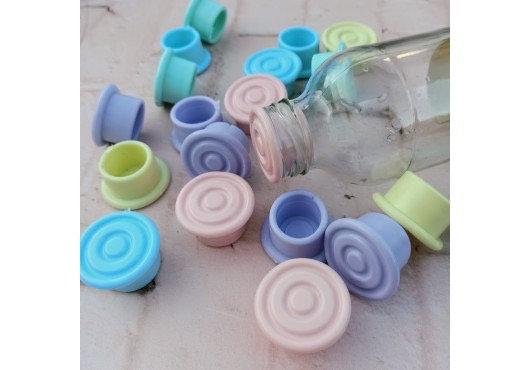 Tapon de botlla pico ancho circulos pastel Cliker