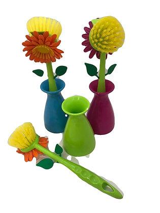 Cepillo con recipiente multiuso 25cm Flor Rayabo