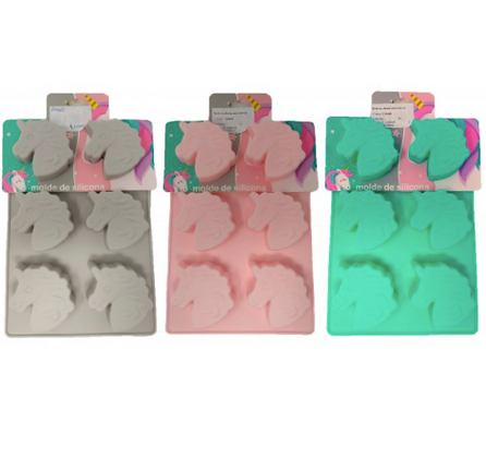 Molde unicornio x 6 28x6x18cm silicona colores pastel TK