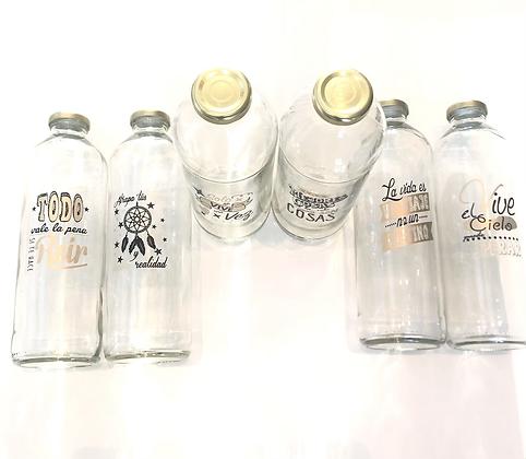 Botella de vidrio 1 litro + tapon chapa dorada + stickers frases doradas