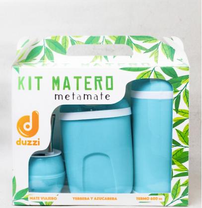 Kit Matero  mate antivuelco c/bombilla ,azucarera yerbera y terCimarron art 1041