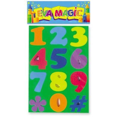 Troquelitos numeros medianos goma eva 33x23cm art 605Eva Magic art 605
