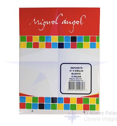 Repuesto de dibujo n5 blanco 8hojas Miguel Angel