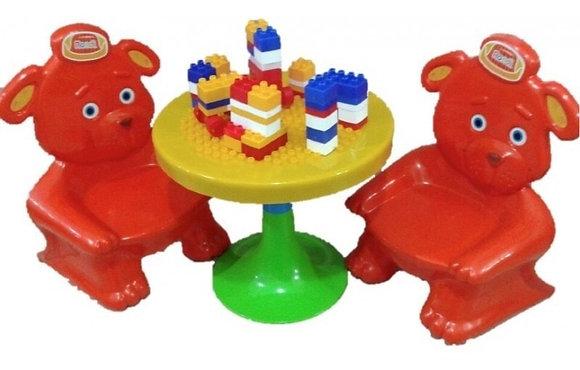 Mesa con 2 sillas más bloques Rondi art 3130 rojo