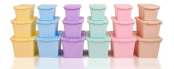 Set de 3 organizadores herméticos con traba color pastel de 24,12 y 6 litros