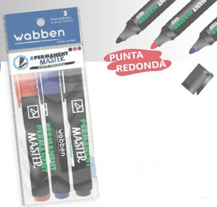 Marcadorx 3 permanente punta redonda Wabben art 9043