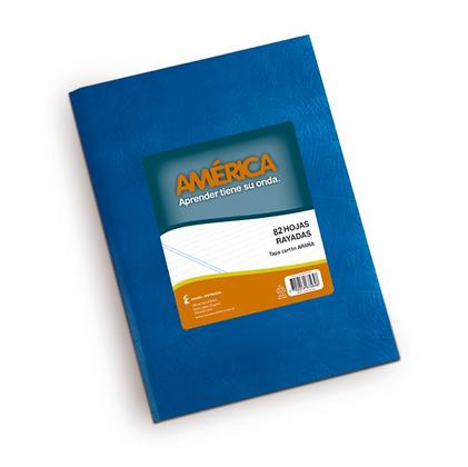Cuaderno tapa dura America x 82 hojas