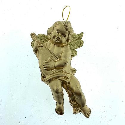 Ángel dorado con purpurina 14cm Soifer