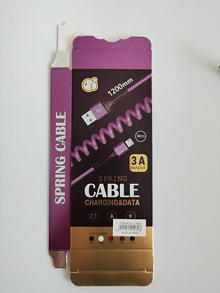 Cable de datos resorte 3A 1,2 metros TR El-1060