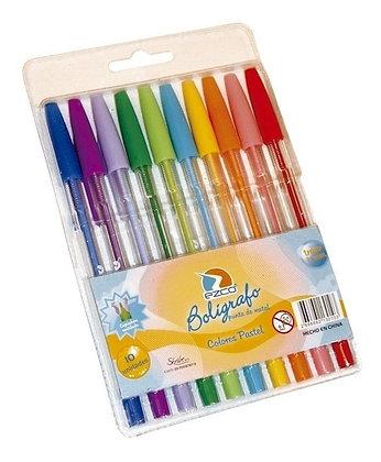 Boligrafos pastel x 10 Ezco