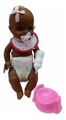Bebe negrito 33cm c/pelela y accesorios Yoly-Bell art 124N