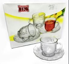Set de 6 tazas c/plato de vidrio Turkia  Frida 230ml Soifer caja de r