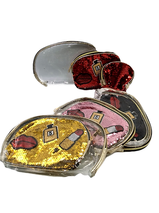 Porta cosmetico Set x 3 lentejuelas y pliques