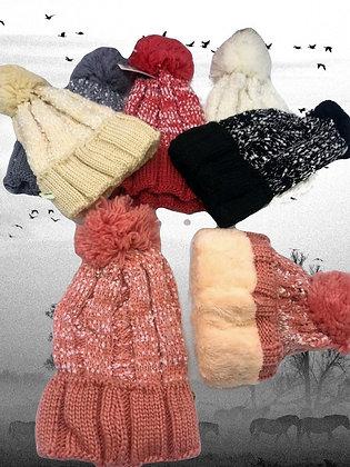 Gorro lana con pompon dama forro corderito 19-13
