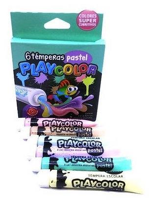Temperas x 6  8mm colores pastel Playcolor