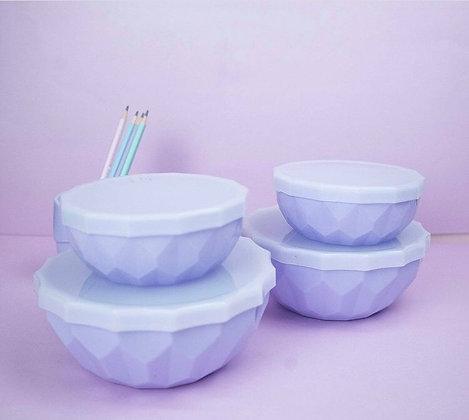 Bowls facetado con tapa colores pastel mediano 15x7cm Cliker