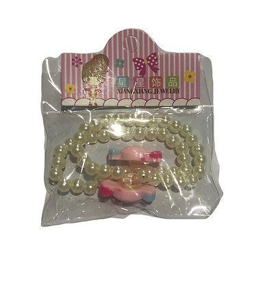 Set de 2 pulseras infantil perlas c/aplique  Boaz art 839-2
