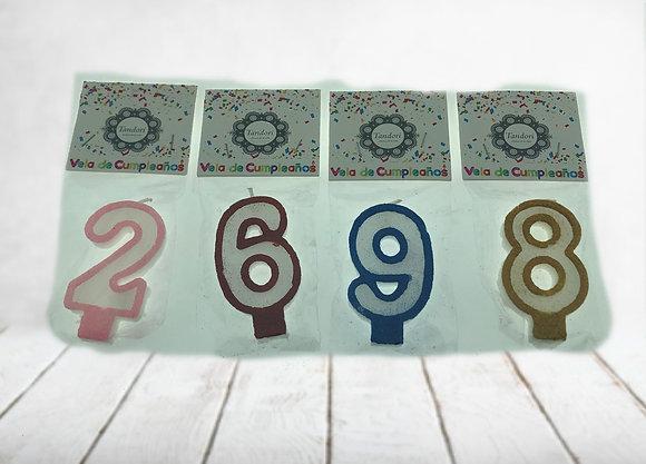 Vela numero cumpleaños c/purpurina Tandori