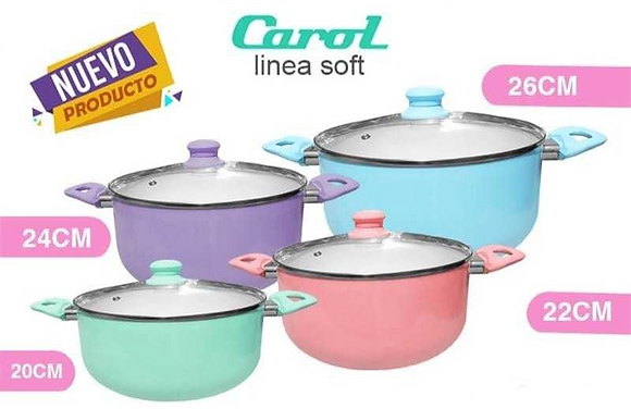 Cacerola 22cm tapa vidrio Carol c/ceramica antiadh linea Soft