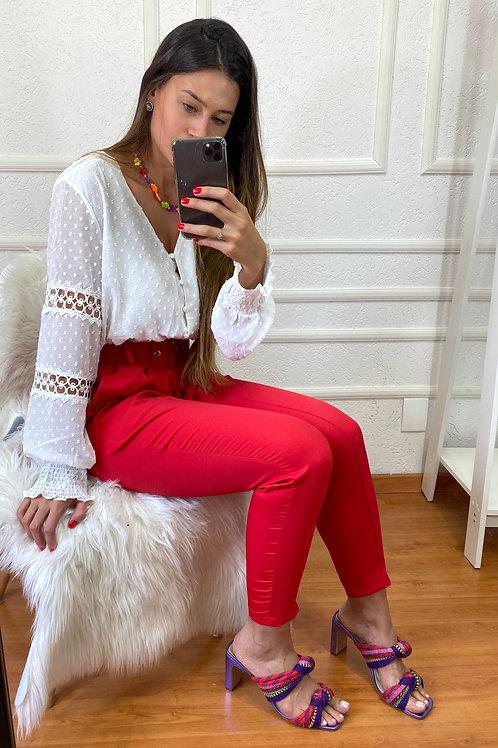 Calça  alfaiataria vermelha