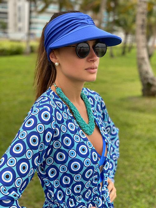 Viseira/turbante azul
