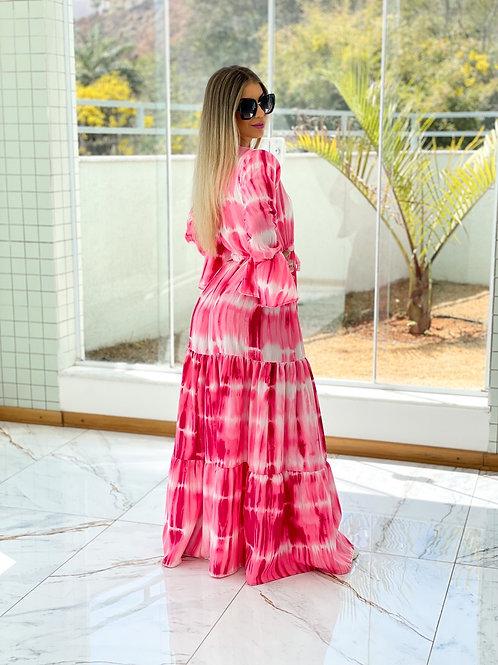 Saída de Praia tie dye pink