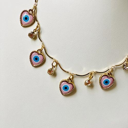 Colar olho grego rosa