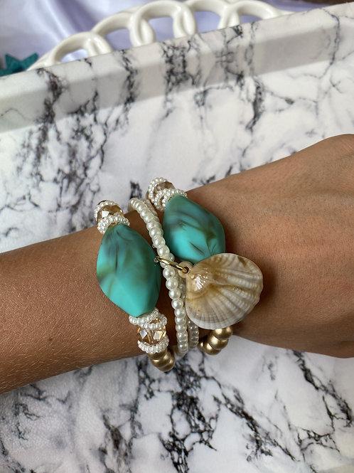 Mix de pulseiras Pearl Turquesa