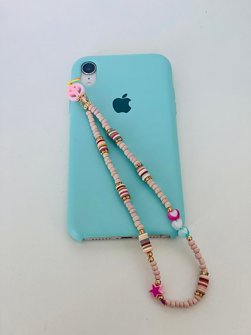 Phone Strap Peace Pink