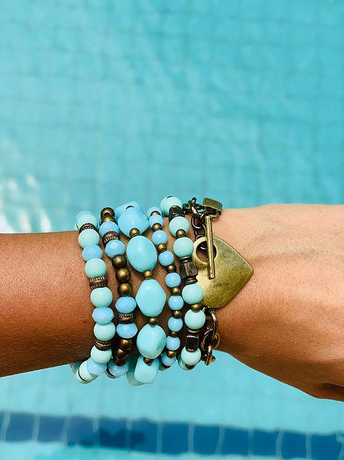 Mix de pulseiras Fran Turquesa