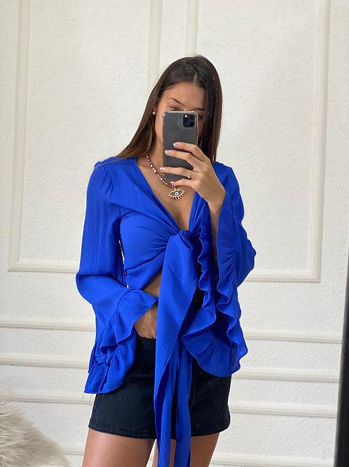 Blusa/cropped babados Azul