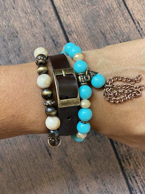 Mix de pulseiras Luxo Turquesa