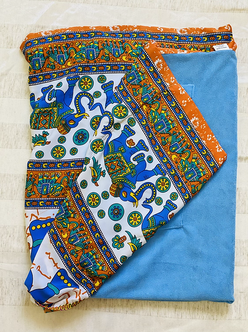 Canga Toalha Elefantes azul