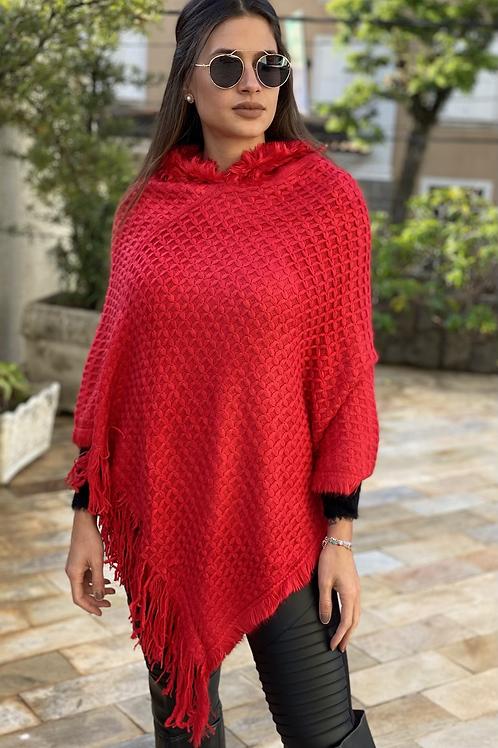 Poncho Flávia vermelho