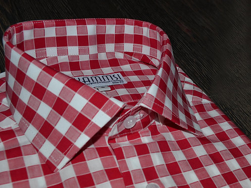 100% cotton red-white stripe casual shirt
