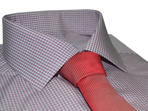 100% բամբակե վարդագույն և սպիտակ վանդակավոր վերնաշապիկ
