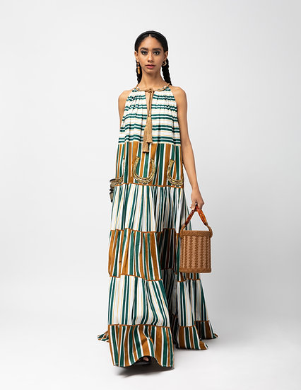 Corded Tie Up Maxi Dress