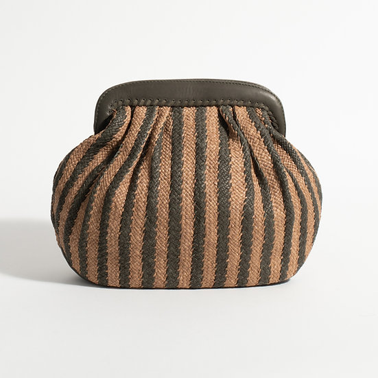 The striped Woven Raffia and leather Clutch