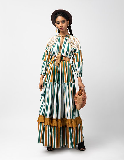 The Tie Up Gathered Maxi Dress