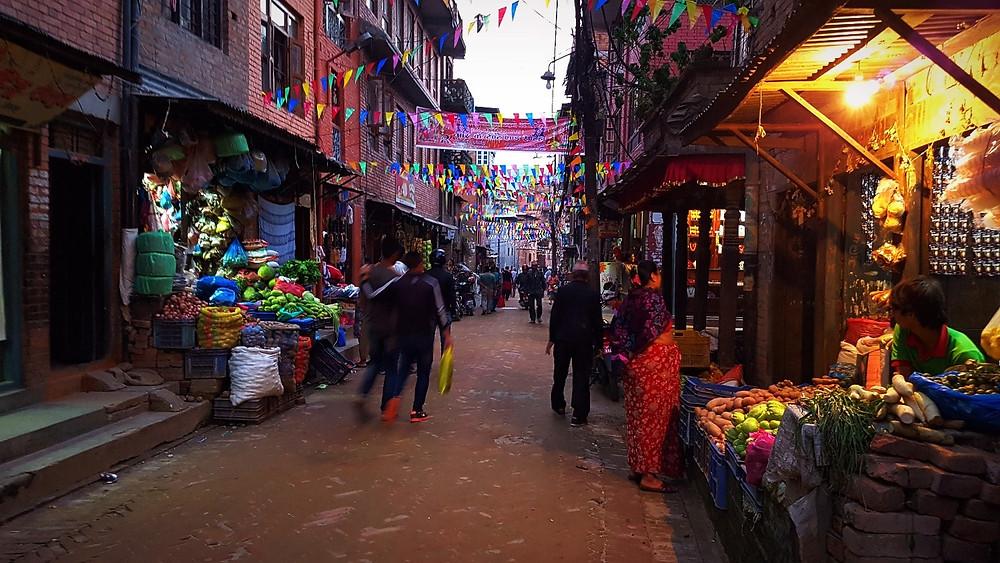 夕暮れのバクタプル市街